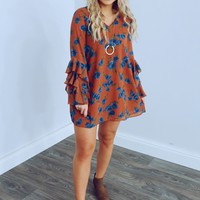 Right On Time Dress: Rust/Multi