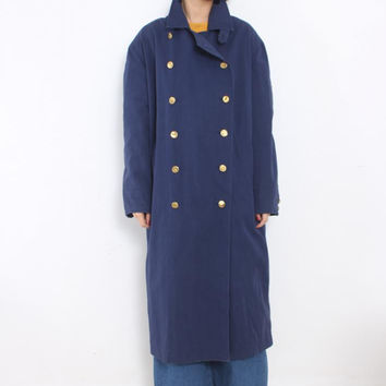 Vintage 1980s Power Shoulder Military Oversized Double Breasted Trench Coat