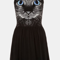Topshop Cat Graphic Skater Dress (Petite) | Nordstrom