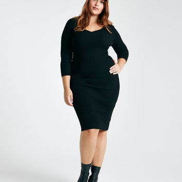 Plus Size V-Neck Ribbed Cutout-Back Sweater Midi Dress | Wet Seal Plus