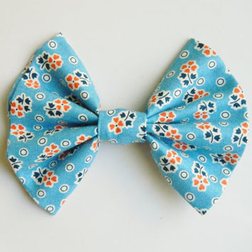 Coral and Blue Floral Hairbow, Large Hairbow, Chignon Hairbow, Hairbow great for a bun, Alligator clip or barrette