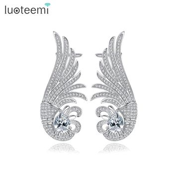 LUOTEEMI New Luxurious Ear Cuff White Gold Color Clip on Earrings Earclips for Women Girls Fashion Shining CZ Jewelry Gift