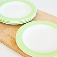 Vintage Pyrex Dinnerware Lime Green Band Dinner Plates, Set of 4 Green Plates, Made in USA, Retro Tablescapes