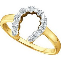 10kt Yellow Gold Womens Round Diamond Two-tone Simple Lucky Horseshoe Ring 1/20 Cttw 29430
