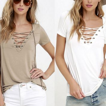 V sexy lace collar short sleeved T-shirt pure leisure