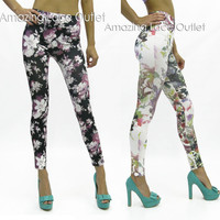 Floral Print Leggings Animal Print Trendy High Waist Tights Stretch Flower Pants