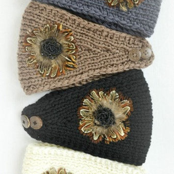 NEW!! Ready to Ship Tan, Black, Gray, Ivory Knitted Feather Medallion Beaded WIDE Headbands Wrap Turban Ear Warmer Women's Accessories