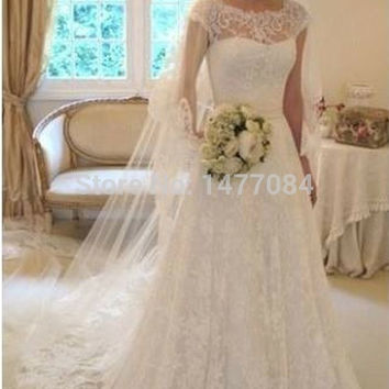 Elegant A Line Jeweled Cap Sleeve Wedding Dresses 2014 See Through Back Long Bridal Gowns New Arrivall