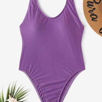 Low Back Scoop Neck One Piece Swimsuit