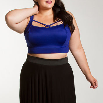 2 colors solid black blue plus size  women crop top