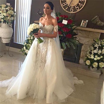 2016 Elegant Mermaid Wedding Dress Off-shoulder Sleeveless Lace Applique Bridal Gowns Vestido De Noiva With Long Overskirt