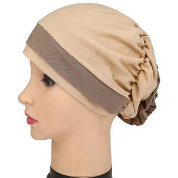 2017 Lady New women Folded turban cap Georgette Flower Headcover for Cancer Chemo Hair Loss Cap Color Hat