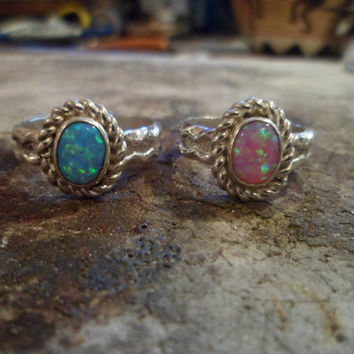 Authentic Navajo,Native American,Southwestern,sterling silver Pink and blue opal rings. Size 7 and 8