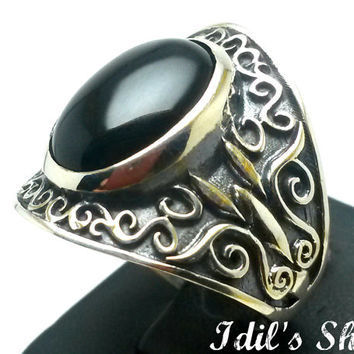 Men's Ring, Turkish Ottoman Style Jewelry, 925 Sterling Silver, Authentic Gift, Traditional Handmade, With Black Agate Stone, US Size 12 New