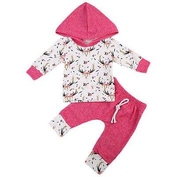 Newborn Baby Girl Clothes Sets Hooded Tops Long Sleeve Pants Cotton 2pcs Outfits Clothing Set Baby Girls