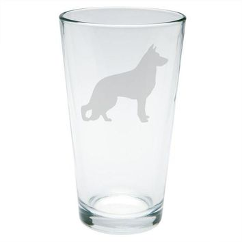 LMFCY8 German Shepherd Guard Dog Silhouette Etched Pint Glass
