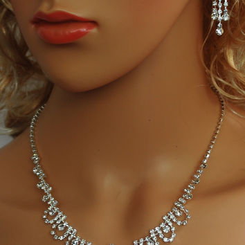 """Bridal Wedding Prom Pageant Crystal Necklace with Earring Set, 18"""" with Adjustable Chain N1X34"""