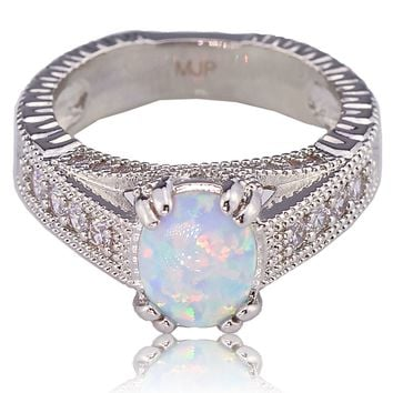 Oval White Fire Lab Created Opal White Gold Plated Vintage Style Engagement Ring