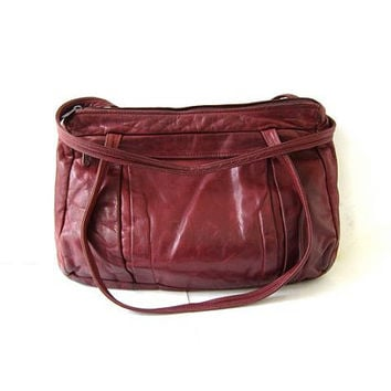 Vintage oxblood red leather purse. leather shoulder bag. slouchy bag. leather Ipad bag.