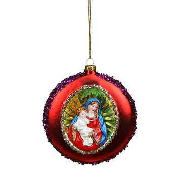"4"" Mary and Baby Jesus Sequin Religious Christmas Glass Disc Ornament"