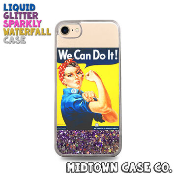 "Rosie the Riveter ""We Can Do It!"" Feminist Cute Liquid Glitter Waterfall Quicksand Sparkles Glitter Bomb Bling Case for iPhone 7 7 Plus 6s 6"