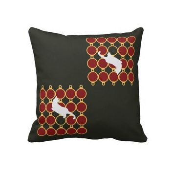 Girly Christmas Holiday Throw Pillow for Cat Lovers: Cute Playful Cat with Christmas Ornaments