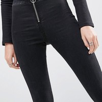 ASOS Rivington Jegging With Zip Front In Washed Black