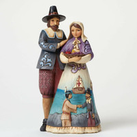 Enesco Heartwood Creek Pilgrim Couple with Scene  Jim Shore NIB  4047826