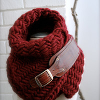 Oxblood, burgundy,herringbone chunky  knit scarf with leather buckle