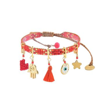 Charmy Bracelet In Red Orange and Gold