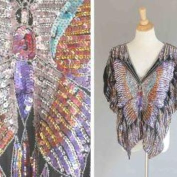 Vintage DISCO DIVA  Sequined Butterfly Top by TwirlVintageCo