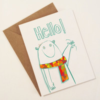 hello card with polar bear - cute bear hello card - thinking of you card - winter polar bear with muffler - say hi thinking of you card