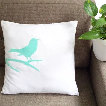 Bird On Branch White And Mint Decorative Pillow Cover 17inch Cushion Cover. Green Accents Pillow. New Home Gift. Minimal Modern Bird Pillow