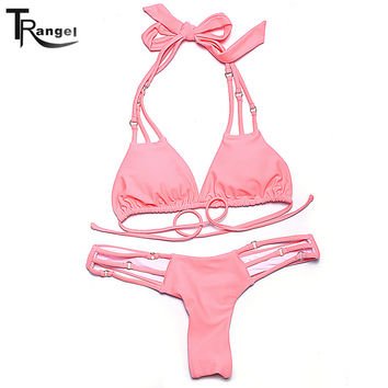 Trangel New Arrival Halter Bikini Strappy Bottom Brazilian Cut Soild Beachwear