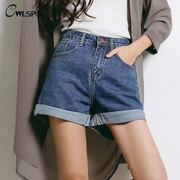 2017 Summer High waist Denim Women Shorts Fashion Boyfriend Rolled Short Jeans femme Plus size 3XL pantalones cortos mujer
