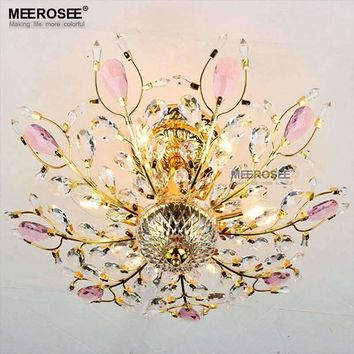 New Chandelier Crystal Light Gorgeous Gold Silver Color Lustres Chandelier Lighting Fixture Mounted Ceiling Lamparas