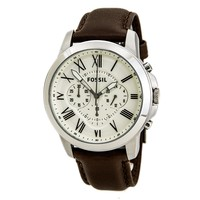 Fossil FS4735 Men's Grant Beige Dial Brown Leather Strap Chronograph Watch