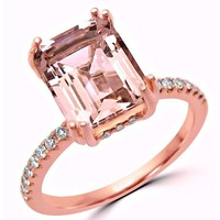 Noori 14k Rose Gold 2 1/3ct TGW Emerald-cut Morganite and 1/3ct TDW Diamond Engagement Ring (G-H, SI1-SI2) | Overstock.com Shopping - The Best Deals on Gemstone Rings