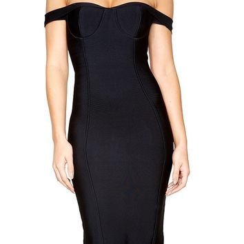 Off The Shoulder Midi Bandage Dress - Black