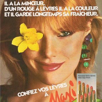 1980 French Max Factor Advertisement Wall Decor Max Factor Lipstick Advertisement Maxi Vintage Cosmetics Boho Beauty Pretty Girl Flower