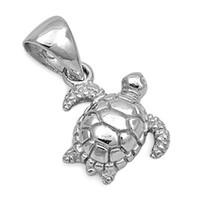 Sterling Silver Tiny Tilted Sea Turtle pendant
