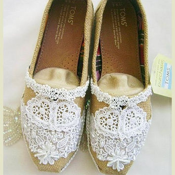 Burlap and Lace Toms Wedding / Bridal Flats Shoes, Rustic Country, Prairie Country, Rag Doll, Romantic Bride Bridesmaid Shoes Custom Colors