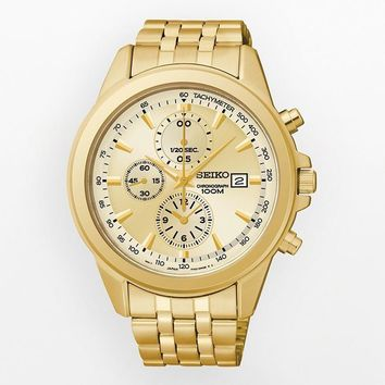 Seiko SNDF08 Men's Chronograph Gold Tone Dial Gold Plated Steel Bracelet Watch