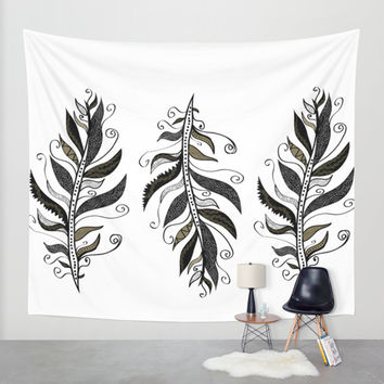 TRIBAL FEATHERS Wall Tapestry by Nika | Society6
