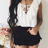 Clarissa Lace Up Top (IVORY)