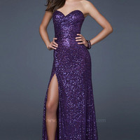Floor Length Strapless Sequin Gown by La Femme