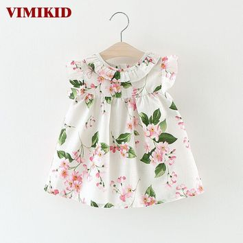 VIMIKID 2017 Summer Baby Dress Cotton Floral Infant Girl Dresses Ruffles Toddler Baby Girl Clothes 2 Colors