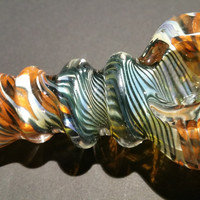 3 Ring Multicolor Swirl Hand Blown Glass Smoking Pipe Spoon Style Bowl Glass