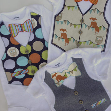 Foxy Trio of Onesuits, Little Man Vested Onesuit, Fox Bow Tie Onesuit, Owl Onesuit, Red Fox Onesuits, Onesuit vests