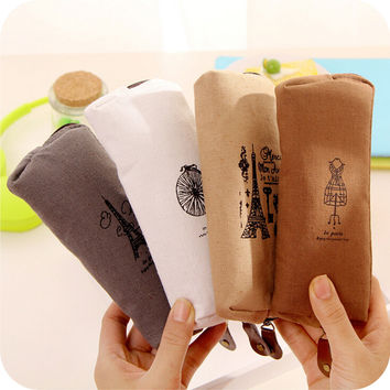 Cute Kawaii Fabric Pencil Case Vintage Retro Eiffel Tower Zipper Pencil Bag Holder Korean Stationery for kids Free shipping 119